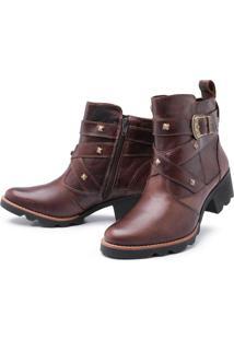 Bota Pessoni Boots & Shoes Couro Cano Curto Pessoni Boots E Shoes Chocolate Marrom