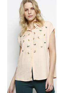 Camisa Com Bordado De Frutas- Salmã£O & Verde- Ahaaha