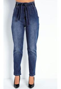 Calça Jeans Mom Jeans Com Pregas E Faixa Sawary