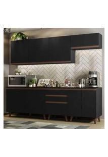 Cozinha Completa Madesa Reims 250001 Com Armário E Balcão - Preto Cor:Preto
