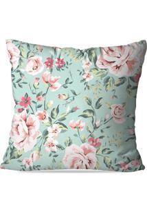 Capa De Almofada Avulsa Decorativa Floral Rose 45X45Cm