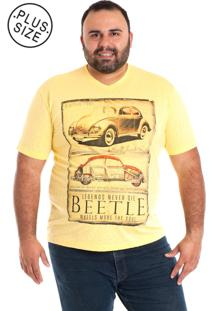 Camiseta Decote V Plus Size Amarela