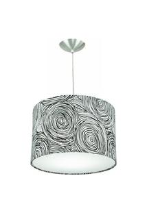 Lustre Cúpula Pendente Dome Estampado Espiral Preto/Branco