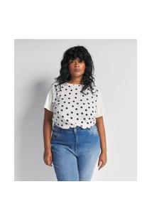 Blusa Poá Com Costas De Malha Curve E Plus Size Branco