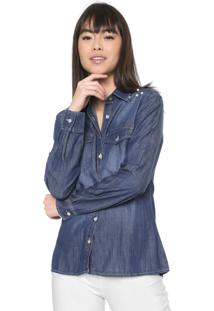 Camisa Jeans Malwee Pérolas Azul