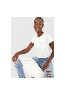 Camiseta Cropped Aeropostale Island Time Branca/Azul