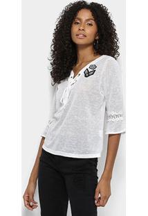 Blusa Lily Fashion Bata 3/4 Guipir Patches Amarração Feminina - Feminino-Branco