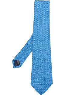 Salvatore Ferragamo Gravata De Seda Estampada - Azul