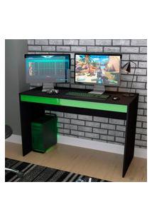 Mesa Escrivaninha Gamer Nova Mobile B23 Preta E Verde