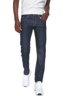 Calça Jeans Rock Blue Reta Pespontos Azul