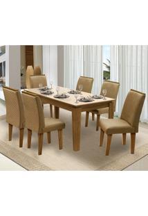 Mesa Para Sala De Jantar Saint Michel Com 6 Cadeiras – Dobuê Movelaria - Mell / Bege / Kaki