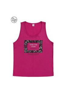 Blusa Lecimar Plus Em Viscose Mesclada Alto Verão Rosa Escuro