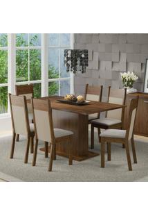 Conjunto Para Sala De Jantar Mesa E 6 Cadeiras Louisiana Madesa Rustic/Crema/Suede Pérola