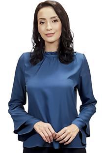 Blusa Flare Silvana Harnisch Azul Petroleo