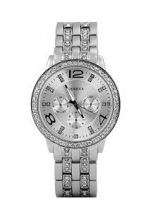 Relógio Feminino Geneva Quartzo De Aço Com Rhinestone - Prata
