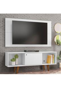 Rack Com Painel Para Tv Até 42 Polegadas Salah Branco 135 Cm