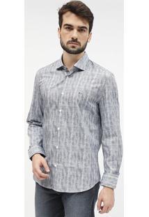 Camisa Slim Fit Com Tag Metã¡Lica - Branca & Azularamis