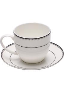 Conjunto 6 Xícaras De Porcelana Para Chá Com Pires Bone China Blue Silver Wolff 270Ml - Alto Relevo