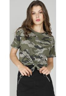 Blusa Feminina Estampada Camuflada Decote Redondo Manga Curta Verde Militar