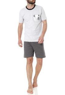 Pijama Curto Mundo Do Sono Masculino - Masculino-Cinza