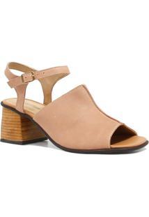 Sandália Zariff Shoes Salto Fivela Couro - Feminino-Rosa