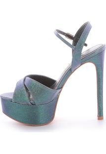 Sandália Salto Alto Di Valentini Tecido Verde