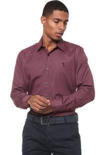 Camisa Aleatory Slim Padronagem Bordô
