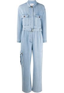 Ba&Sh Macacão Jeans Com Cinto - Azul