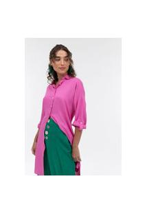 Camisa Lisa Alongada Em Viscolinho | Marfinno | Rosa | P
