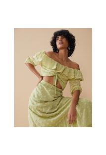 Amaro Feminino Blusa Cropped Textura Poá Com Babado, Verde