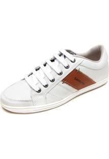 Sapatênis Couro Cavalera Stripe Color Off-White/Marrom