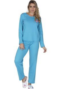 Pijama Click Chique Manga Longa Azul