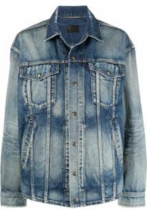Saint Laurent Jaqueta Jeans Com Acabamento Destroyed - Azul