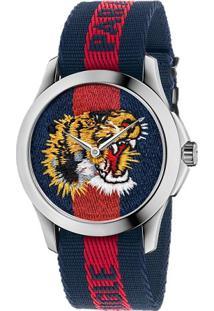 Relógio Gucci Feminino Nylon Azul E Vermelho - Ya126495