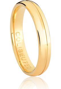 Aliança De Ouro 18K Anatômica Meia Cana Com Friso Polida-Alianças Exclusivas Coliseu(3,50Mm)