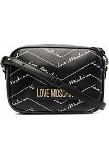 Love Moschino Bolsa Transversal Com Estampa De Logo - Preto