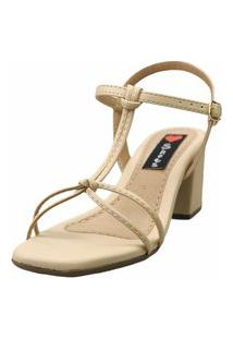 Sandália Salto Bloco Love Shoes Baixo Tiras Delicadas Nó Bege