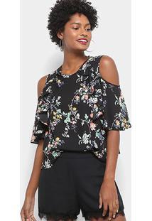 Blusa Drezzup Open Shoulder Floral Feminina - Feminino-Floral