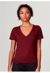 Blusa Básica Hering Em Algodão Com Decote V Feminina - Feminino-Vermelho