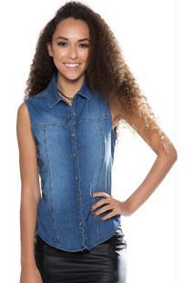 Blusa Sem Manga Com Abertura Jeans Cativa