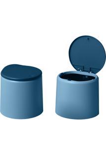 Mini Lixeira De Plástico Azul/Azul Clara - Oikos