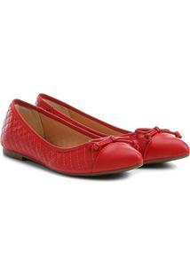 Sapatilha Shoestock Matelassê Bico Fino Feminina - Feminino-Vermelho