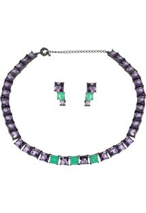 Conjunto Infine Choker E Brincos Verde Turmalina Fusion Premium E Cristal Ametista Violeta - Kanui