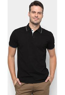 Camisa Polo Watkins&Krown Elastano Masculina - Masculino-Preto