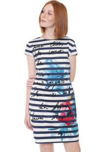 Vestido Desigual Curto Sil Branco/Azul