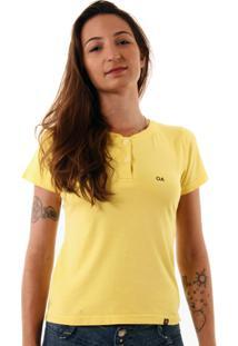Camiseta Feminina Oitavo Ato Henley Amarelo - Amarelo - Feminino - Dafiti