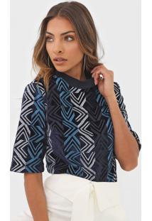 Blusa Colcci Veludo Bordado Azul-Marinho - Kanui