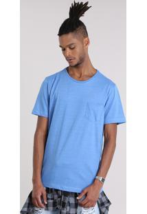 Camiseta Básica Com Bolso Azul