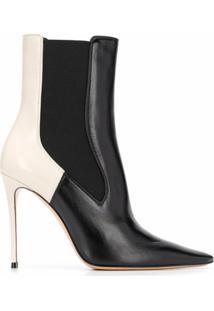 Casadei 105Mm Contrast Panel Boots - Preto