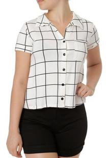 Camisa Manga Curta Feminina Autentique Off White/Preto